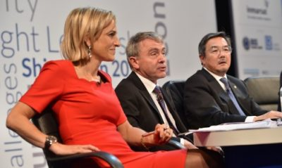 From left to right: Emily Maitlis, Presenter (LISW15 Conference Moderator), BBC Newsnight and News Channel, Robert Goodwill MP, Minister for Shipping & Ports and Koji Sekimizu, Secretary-General, International Maritime Organization (IMO)