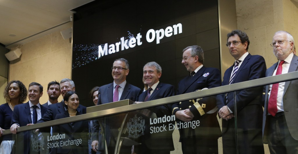 Mark Hoban MP, Board Member of London Stock Exchange featured centre of the photo and to his right, Robert Goodwill MP Minister for Shipping & Ports.